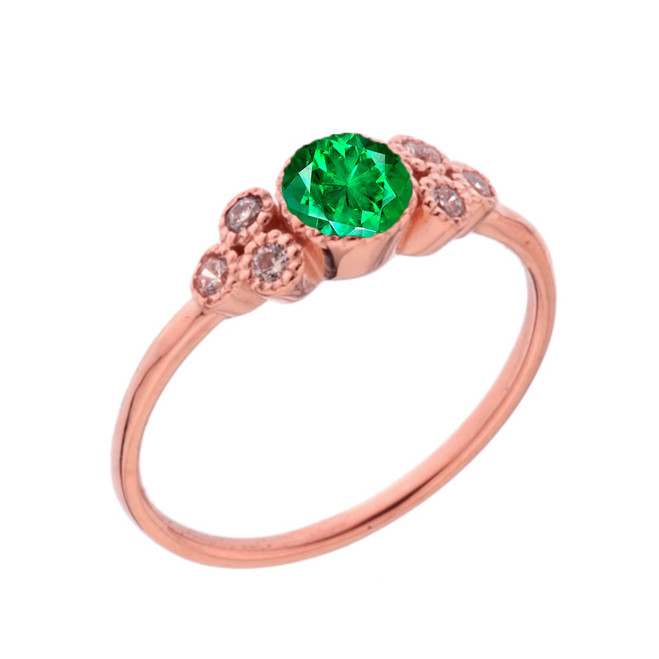 Dainty Chic Lab Created Emerald and White Topaz Promise Ring in Rose Gold