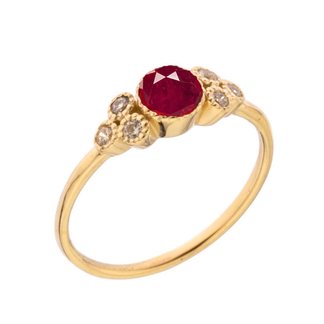 Dainty Chic Lab Created Ruby and White Topaz Promise Ring in Yellow Gold