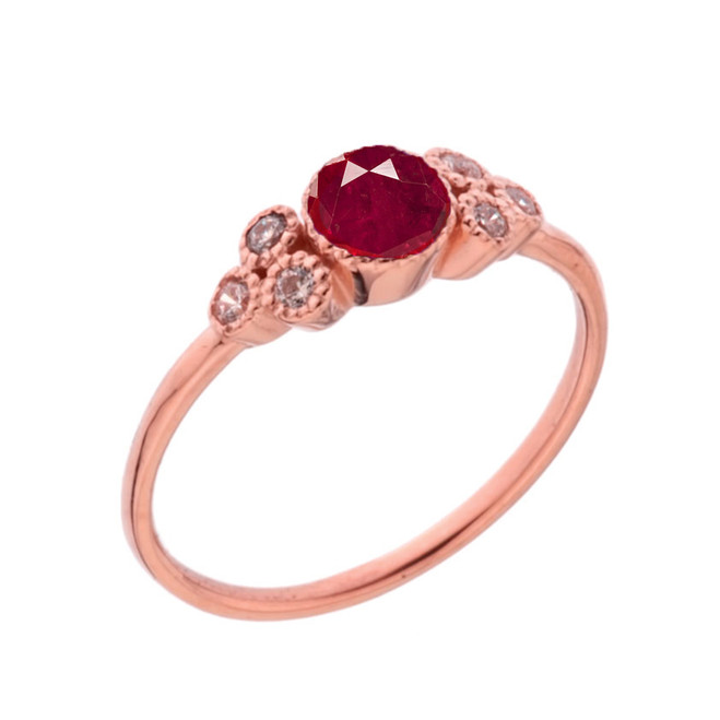 Dainty Chic Lab Created Ruby and White Topaz Promise Ring in Rose Gold