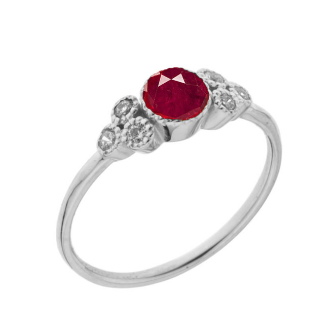 Dainty Chic Lab Created Ruby and White Topaz Promise Ring in White Gold