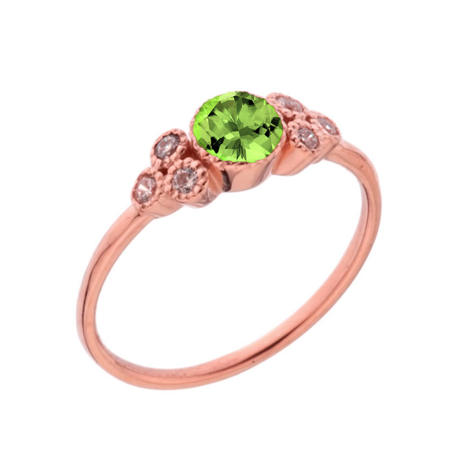 Dainty Chic Genuine Peridot and White Topaz Promise Ring in Rose Gold