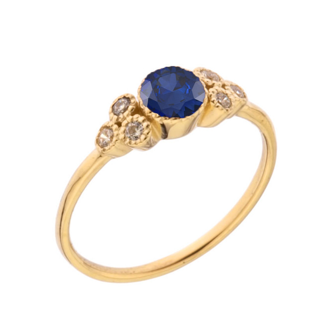 Dainty Chic Lab Created Sapphire and White Topaz Promise Ring in Yellow Gold