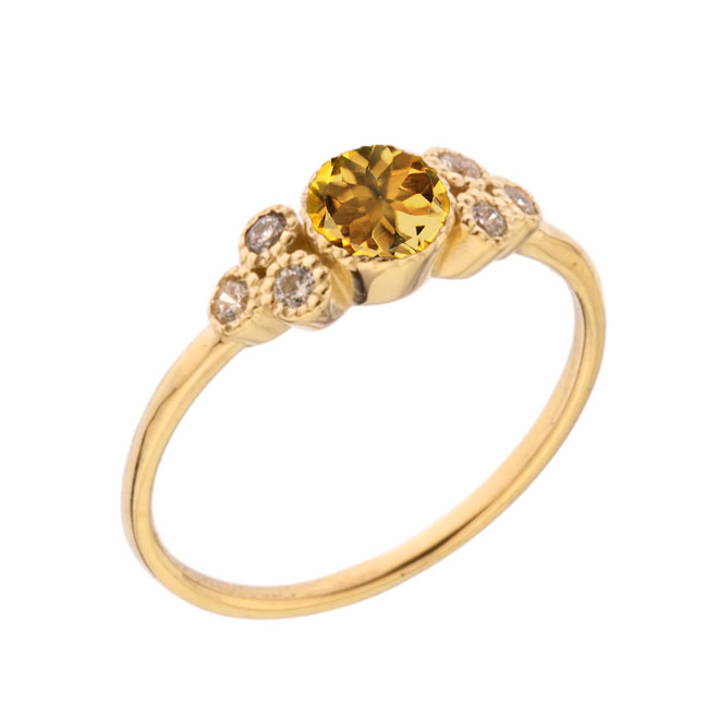 Dainty Chic Genuine Citrine and White Topaz Promise Ring in Yellow Gold