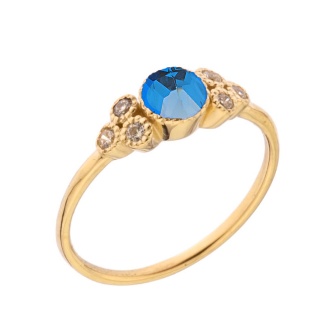 Dainty Chic Blue and White Topaz Promise Ring in Yellow Gold