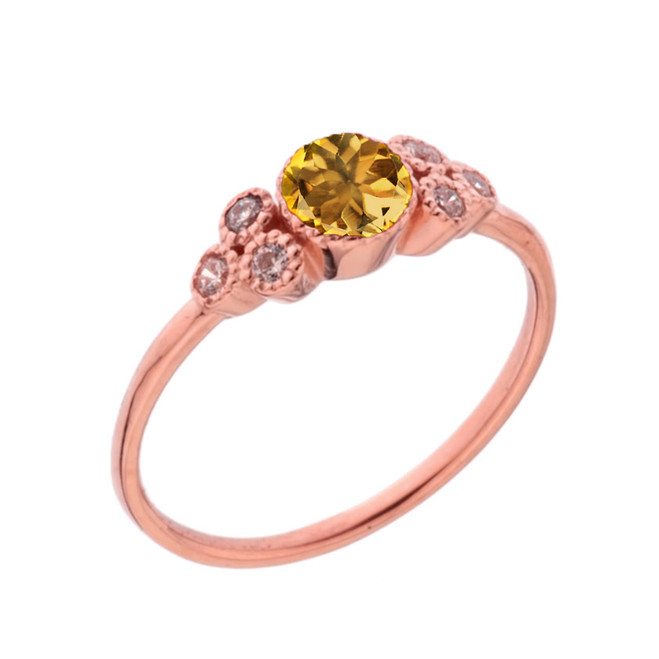 Dainty Chic Genuine Citrine and White Topaz Promise Ring in Rose Gold