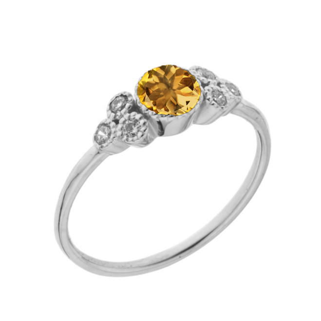 Dainty Chic Genuine Citrine and White Topaz Promise Ring in White Gold