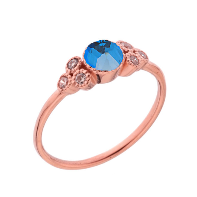 Dainty Chic Blue and White Topaz Promise Ring in Rose Gold