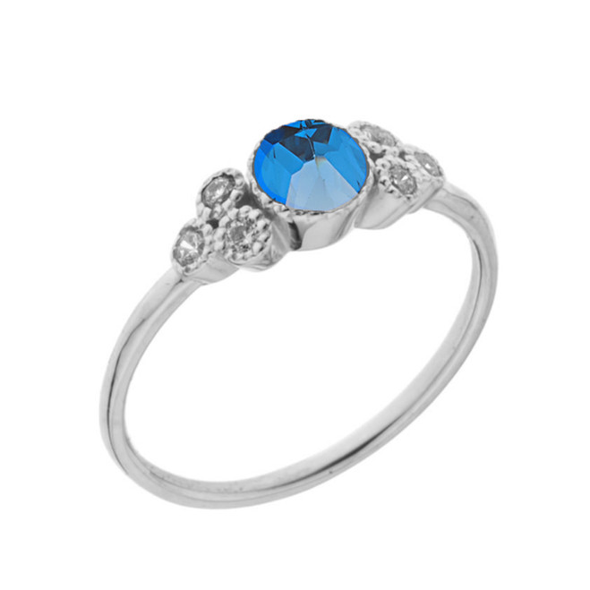 Dainty Chic Blue and White Topaz Promise Ring in White Gold