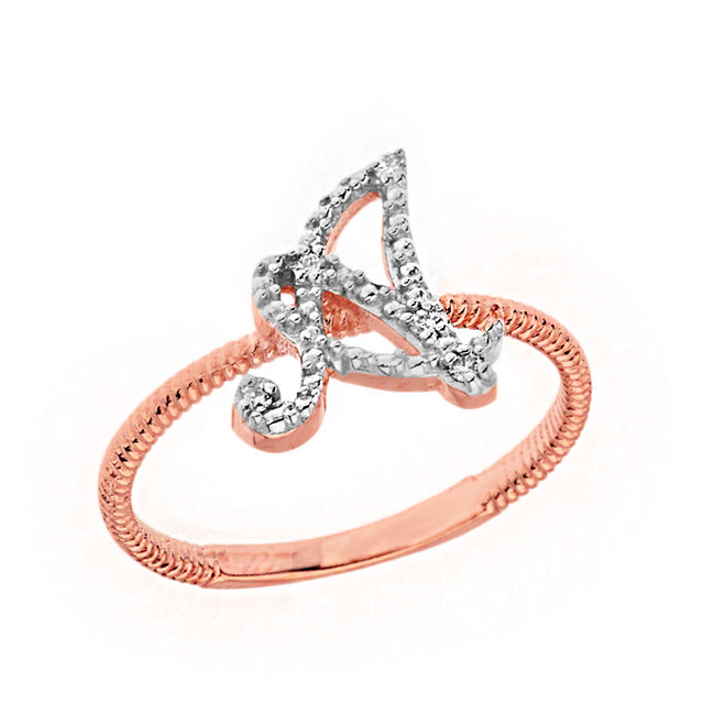 """Solid Rose Gold Script Initial """"A"""" Stackable Diamond Ring"""
