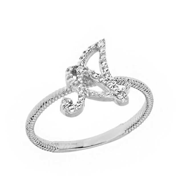 """Solid White Gold Script Initial """"A"""" Stackable Diamond Ring"""