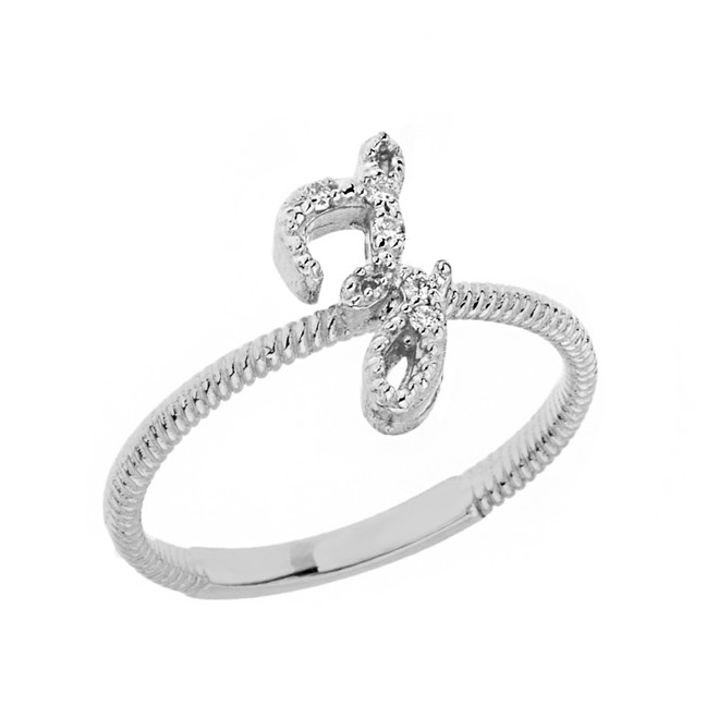 """Solid White Gold Script Initial """"Z"""" Stackable Diamond Ring"""