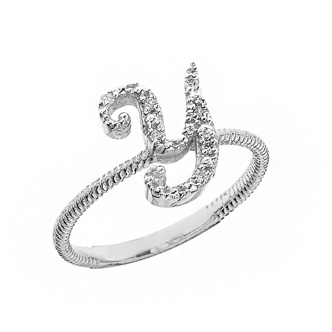 """Solid White Gold Script Initial """"Y"""" Stackable Diamond Ring"""