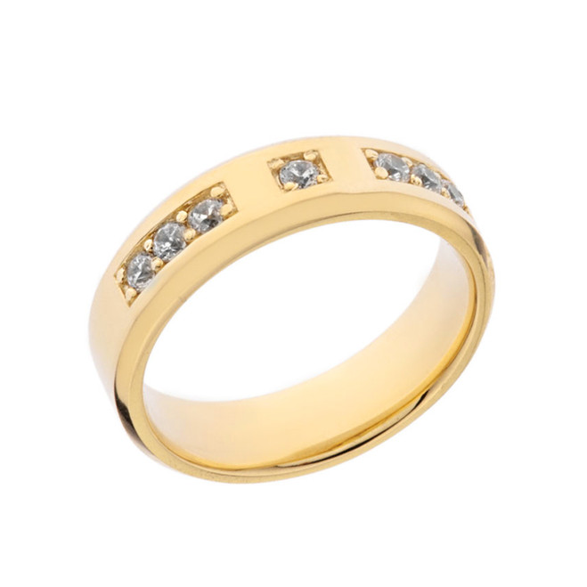 Sleek Cubic Zirconia Mens Ring in Yellow Gold