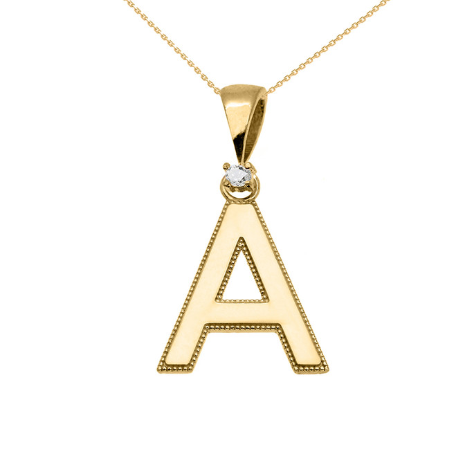 """Milgrain """"A"""" Initial Pendant Necklace in Yellow Gold"""