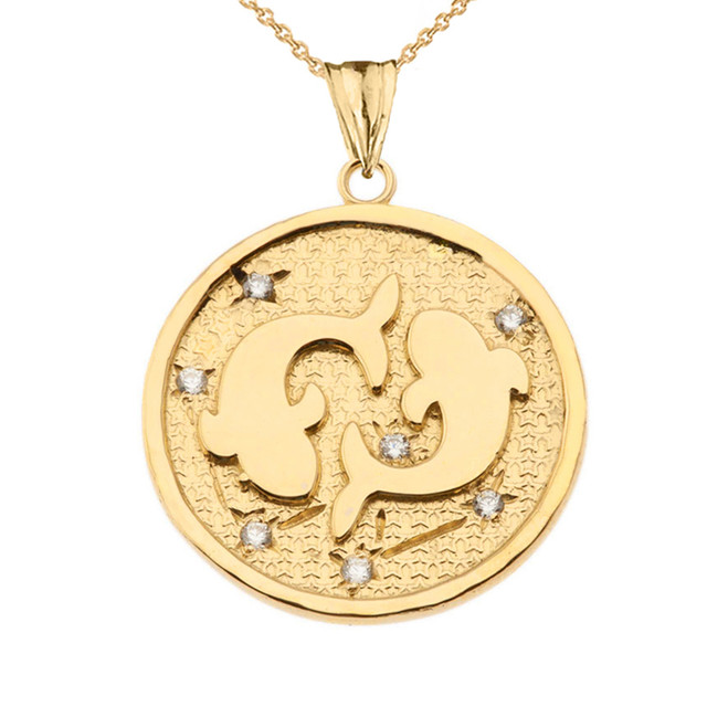 Designer Diamond Pisces Constellation Pendant Necklace in Yellow Gold