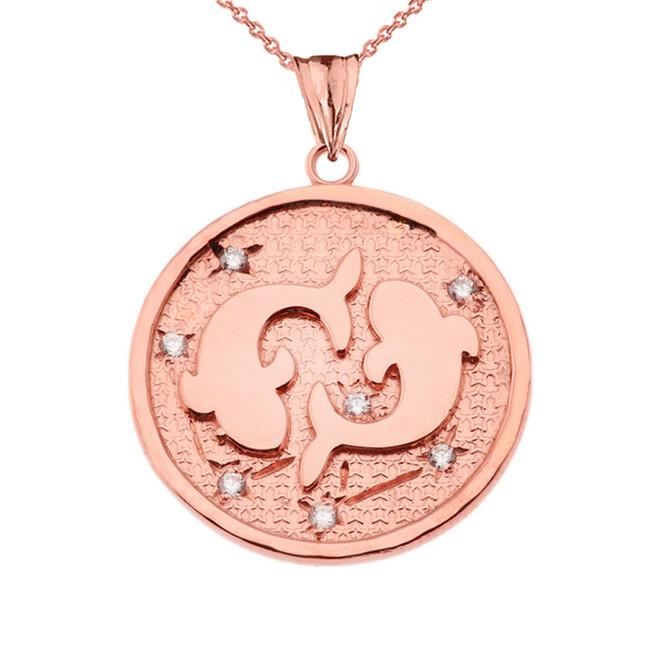 Designer Diamond Pisces Constellation Pendant Necklace in Rose Gold