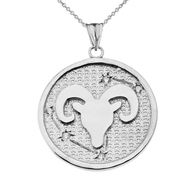 Designer Diamond Aries Constellation Pendant Necklace in White Gold