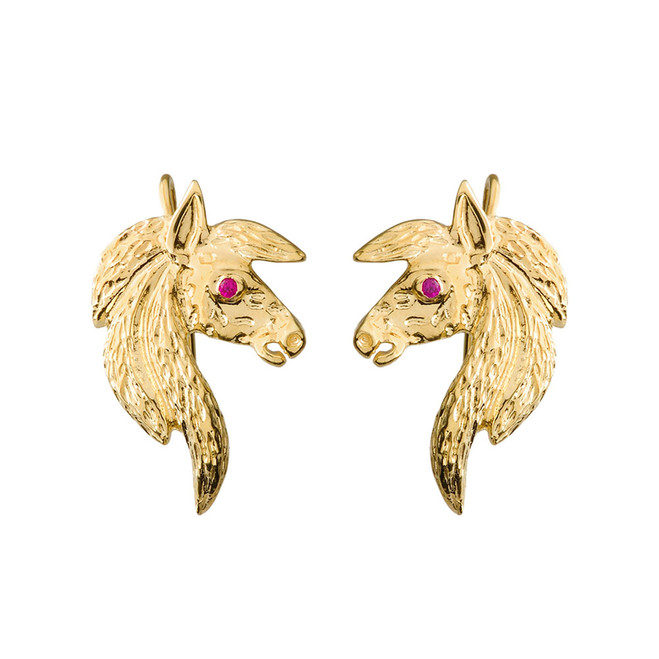 Exquisite Ruby Eyed Horse Earrings in Yellow Gold