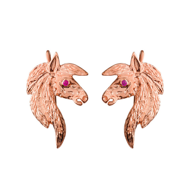 Exquisite Ruby Eyed Horse Earrings in Rose Gold