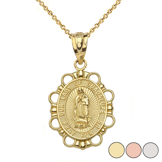 Our Lady of Guadalupe Pendant Necklace in Solid Gold (Yellow/Rose/White)