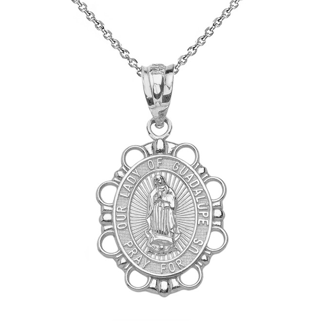 Sterling Silver Our Lady of Guadalupe Pendant Necklace
