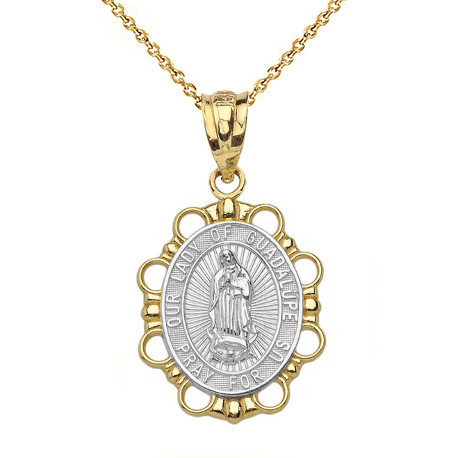 Solid Two Tone Yellow Gold Our Lady of Guadalupe Pendant Necklace
