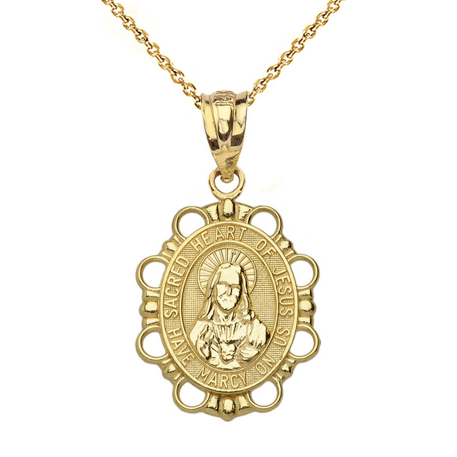 Solid Yellow Gold Sacred Heart of Jesus Pendant Necklace