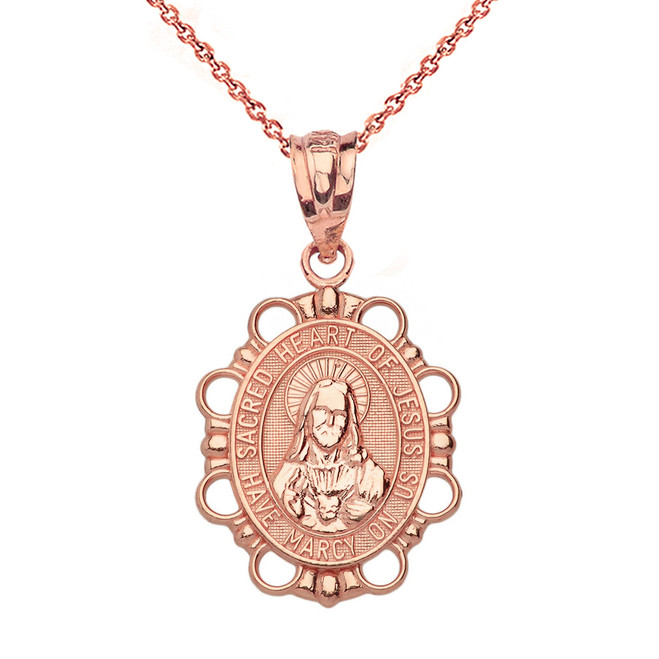 Solid Rose Gold Sacred Heart of Jesus Pendant Necklace
