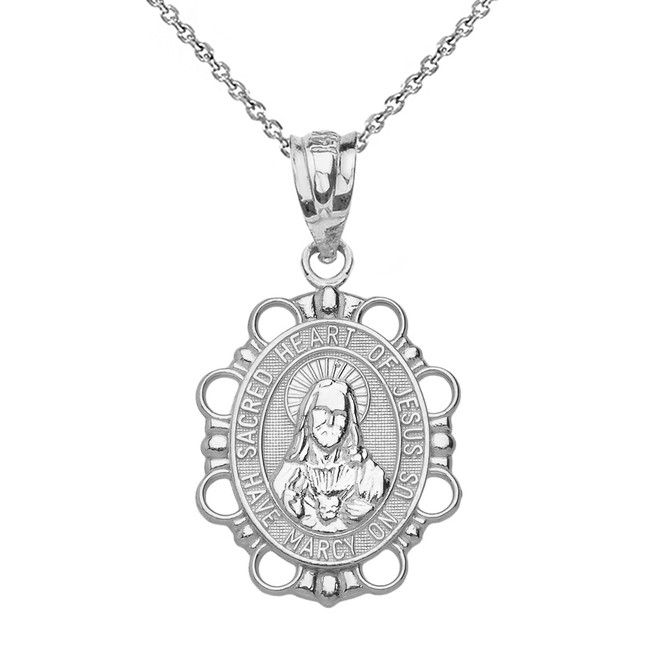 Solid White Gold Sacred Heart of Jesus Pendant Necklace