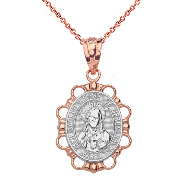 Solid Two Tone Rose Gold Sacred Heart of Jesus Pendant Necklace