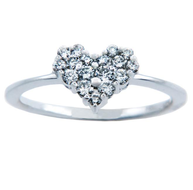 Ladies Rings - Gold Heart of Diamonds Ring