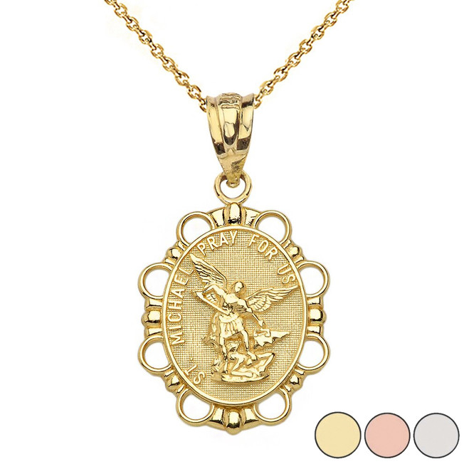 Saint Michael Pendant Necklace in Solid Gold (Yellow/Rose/White)