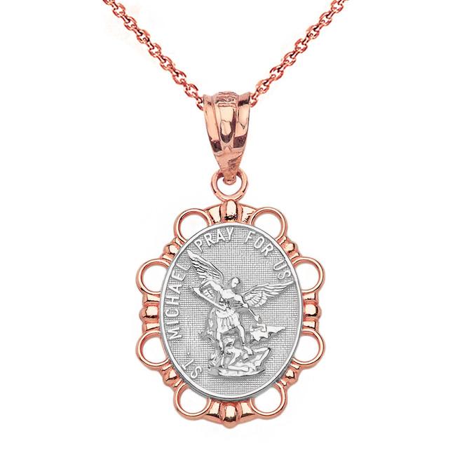 Solid Two Tone Rose Gold Saint Michael Pendant Necklace