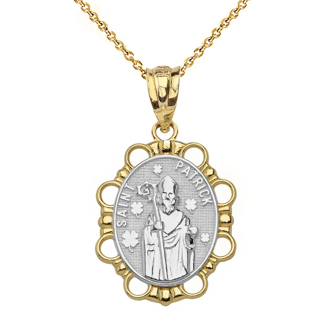Solid Two Tone Yellow Gold Saint Patrick Pendant Necklace