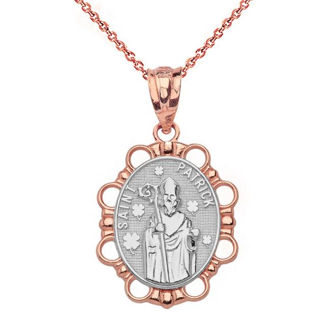 Solid Two Tone Rose Gold Saint Patrick Pendant Necklace
