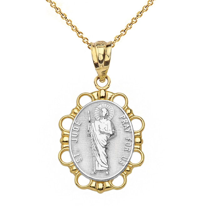 Solid Two Tone Yellow Gold Saint Jude Pendant Necklace