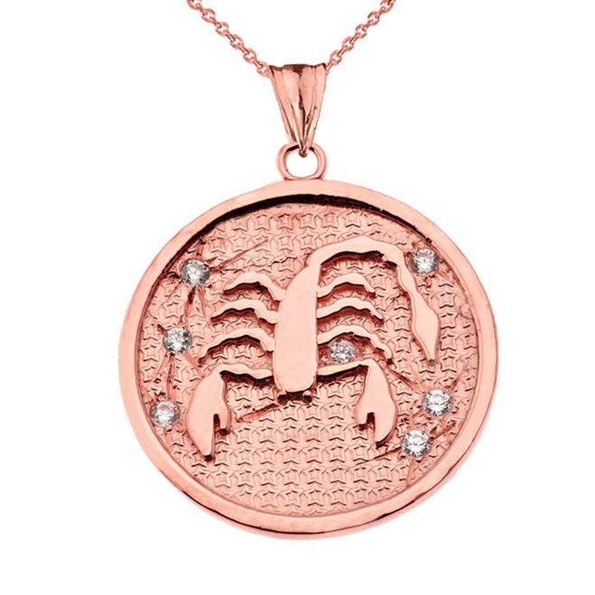 Designer Diamond Scorpio Constellation Pendant Necklace in Rose Gold