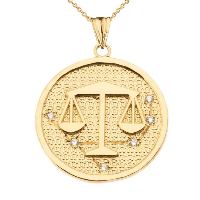 Designer Diamond Libra Constellation Pendant Necklace in Yellow Gold