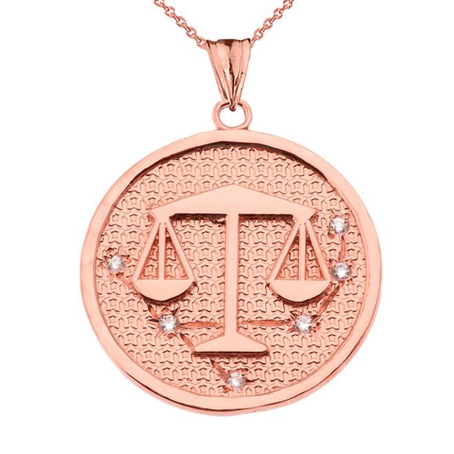 Designer Diamond Libra Constellation Pendant Necklace in Rose Gold