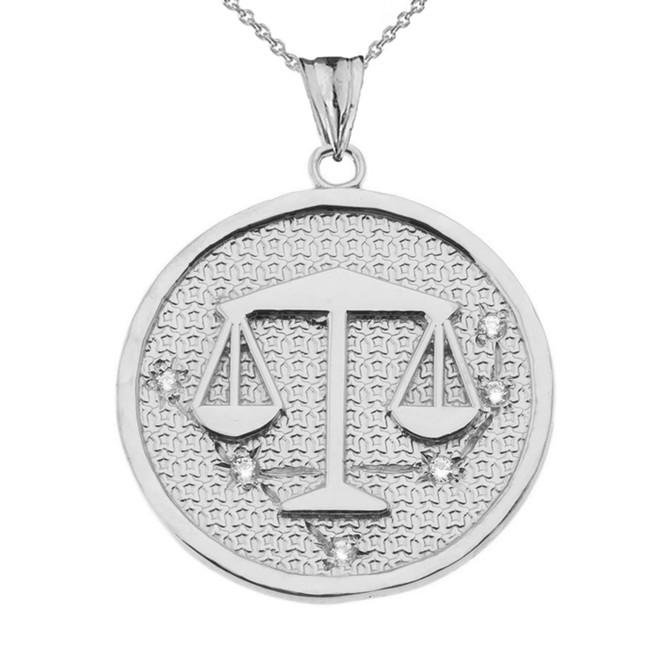 Designer Diamond Libra Constellation Pendant Necklace in White Gold