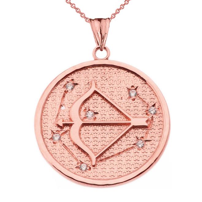Designer Diamond Sagittarius Constellation Pendant Necklace in Rose Gold