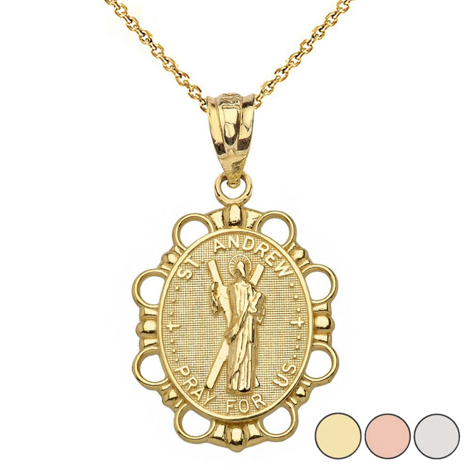 Saint Andrew Pendant Necklace in Solid Gold (Yellow/Rose/White)