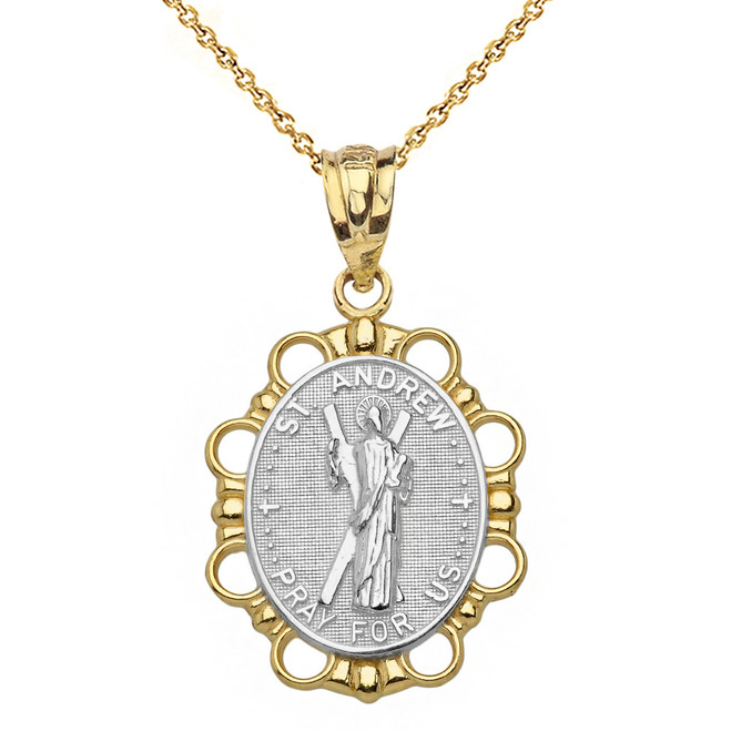 Solid Two Tone Yellow Gold Saint Andrew Pendant Necklace