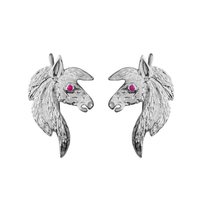 Exquisite Red Eyed Horse Earrings in Sterling Silver
