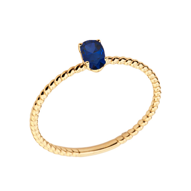 Dainty Genuine Sapphire Oval Rope Ring in Yellow Gold