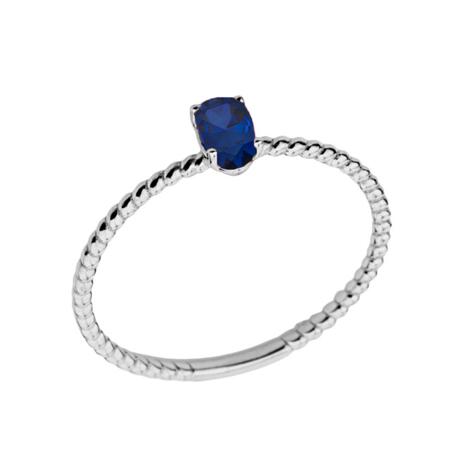 Dainty Genuine Sapphire Oval Rope Ring in White Gold