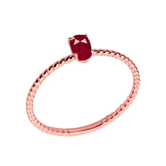 Dainty Genuine Ruby Oval Rope Ring in Rose Gold
