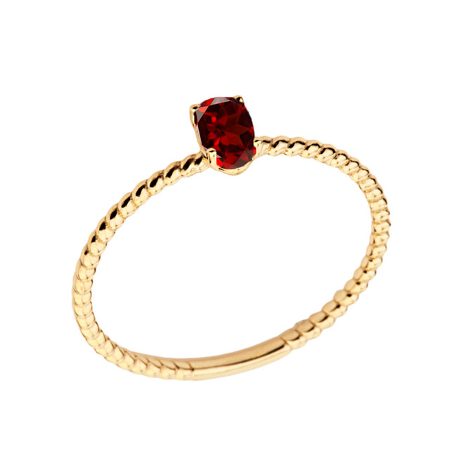 Dainty Genuine Garnet Oval Rope Ring in Yellow Gold
