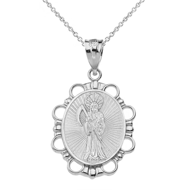 Solid White Gold Santa Muerte Pendant Necklace