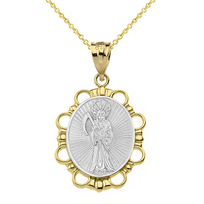 Solid Two Tone Yellow Gold Santa Muerte Pendant Necklace